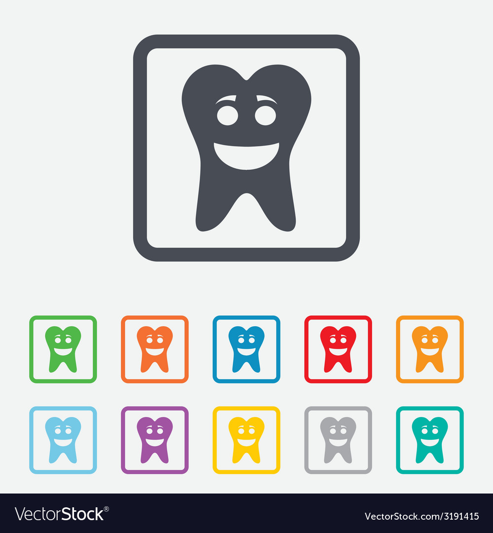 Tooth happy face sign icon healthy tooth vector | Price: 1 Credit (USD $1)