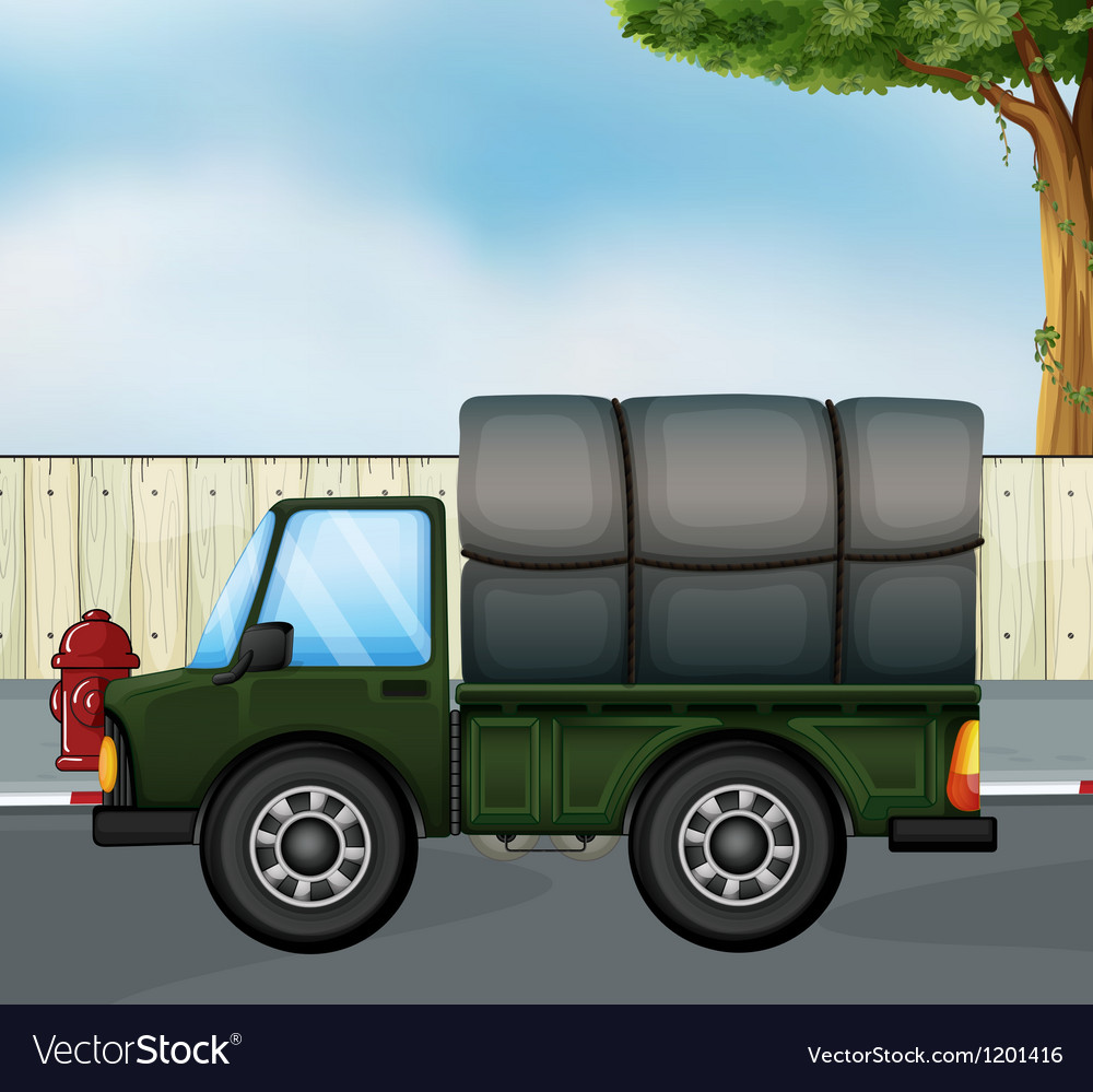 A green track with a cargo at the back vector | Price: 1 Credit (USD $1)