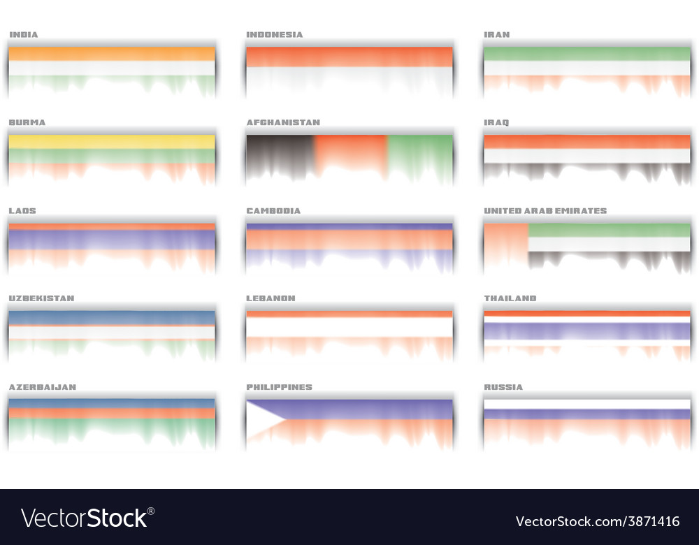 Asian flags banner header set vector | Price: 1 Credit (USD $1)