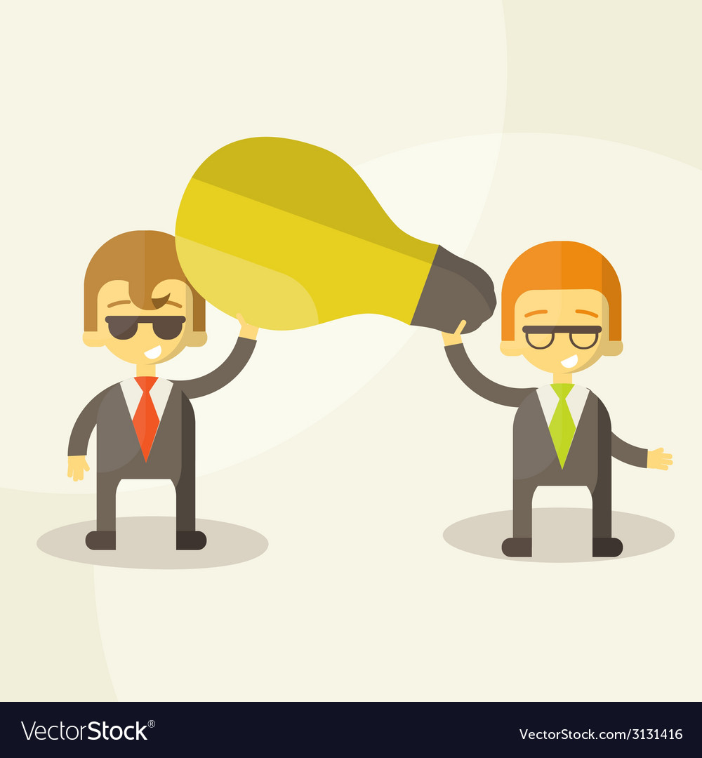 Business man get idea businessmen holding a light vector | Price: 1 Credit (USD $1)