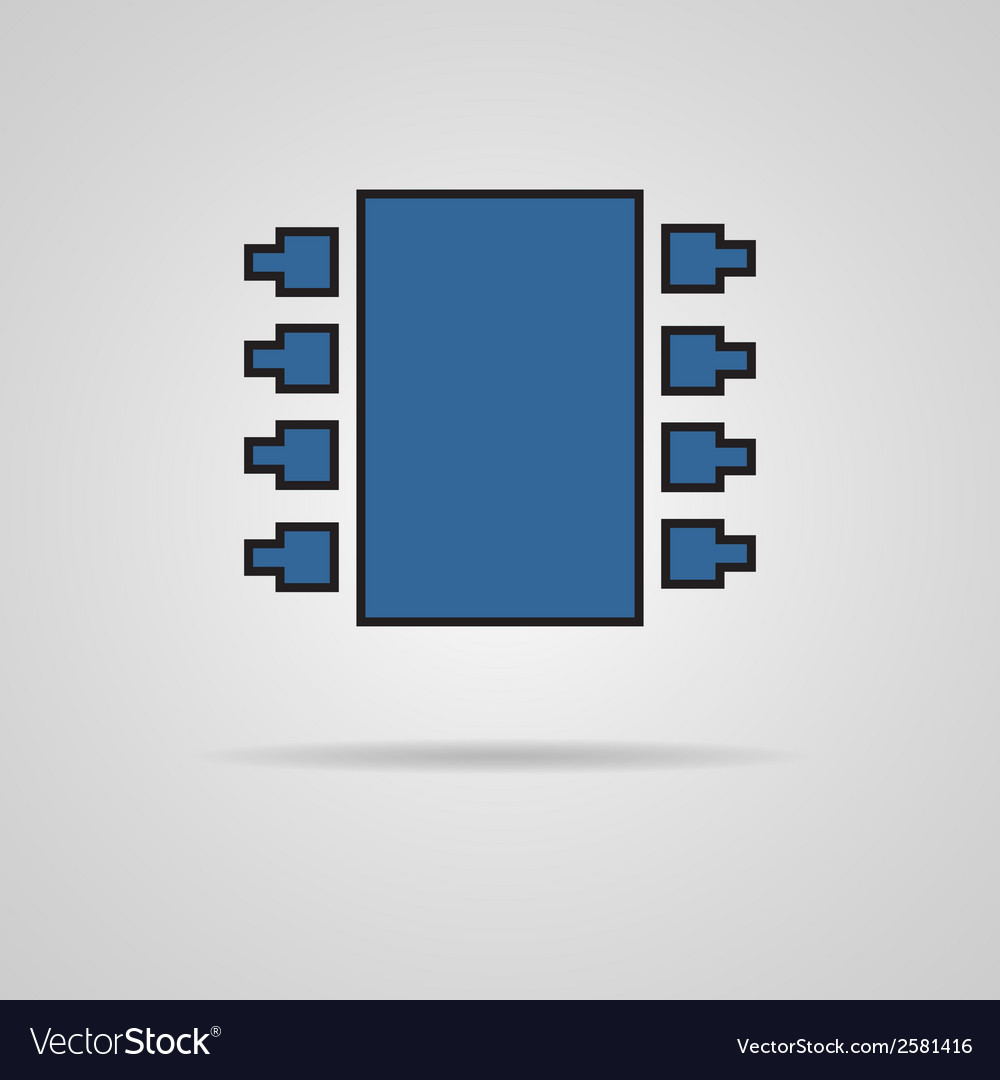 Electronic chip single flat color icon vector | Price: 1 Credit (USD $1)