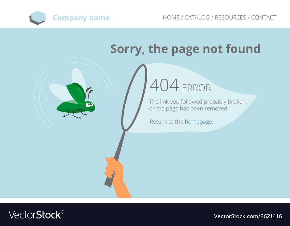 Green software bug was trapped page not found vector | Price: 1 Credit (USD $1)