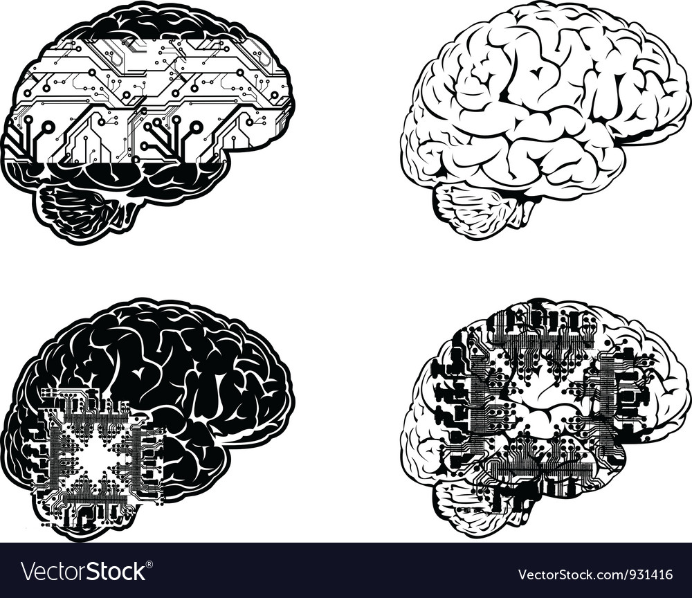 Set of four one color electronic brain side view vector | Price: 1 Credit (USD $1)