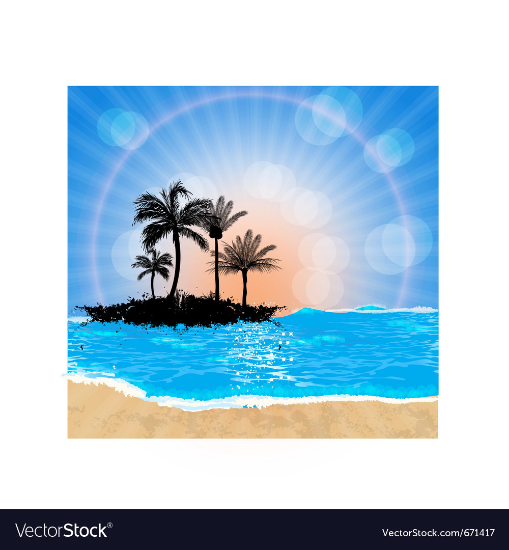Beach and sun vector | Price: 1 Credit (USD $1)