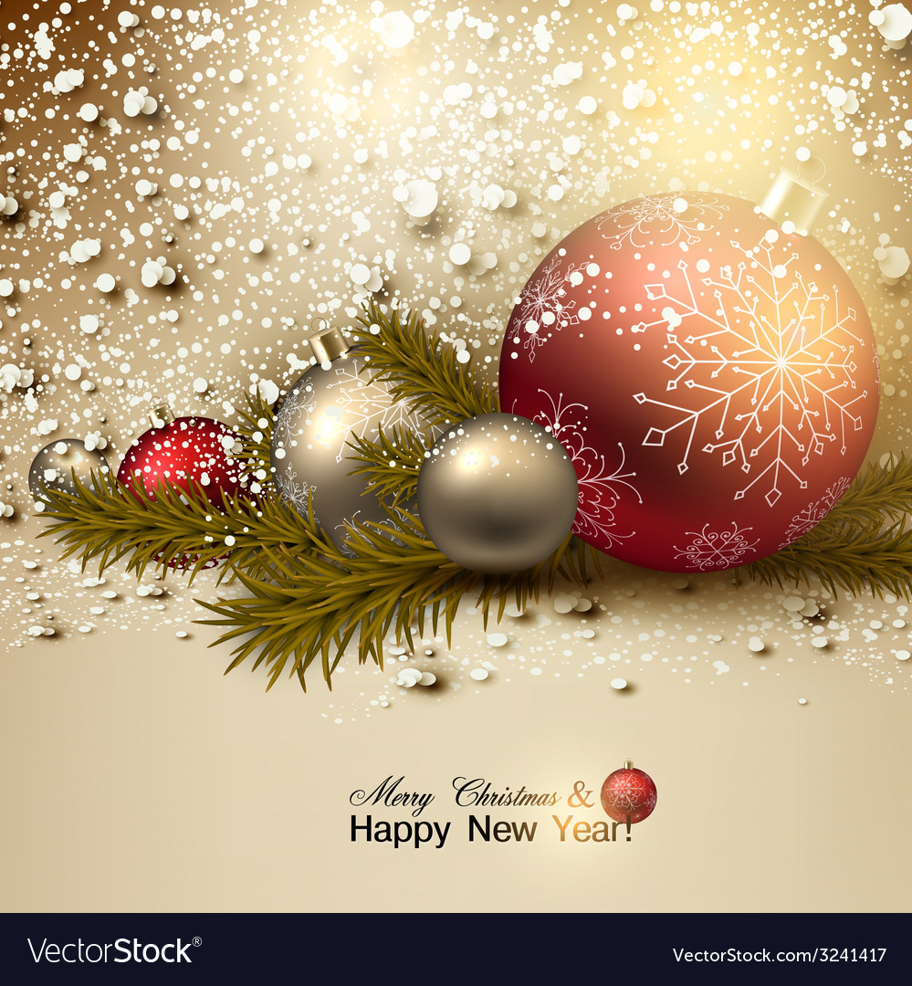 Beautiful christmas background with red and golden vector | Price: 3 Credit (USD $3)