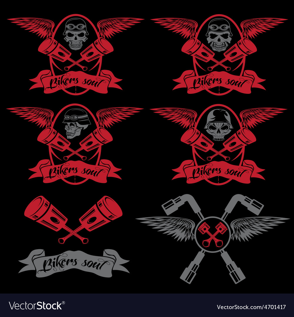 Biker theme labels with pistons and skulls with vector   Price: 1 Credit (USD $1)