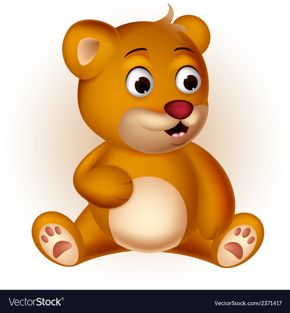 Cute bear cartoon sitting vector | Price: 1 Credit (USD $1)