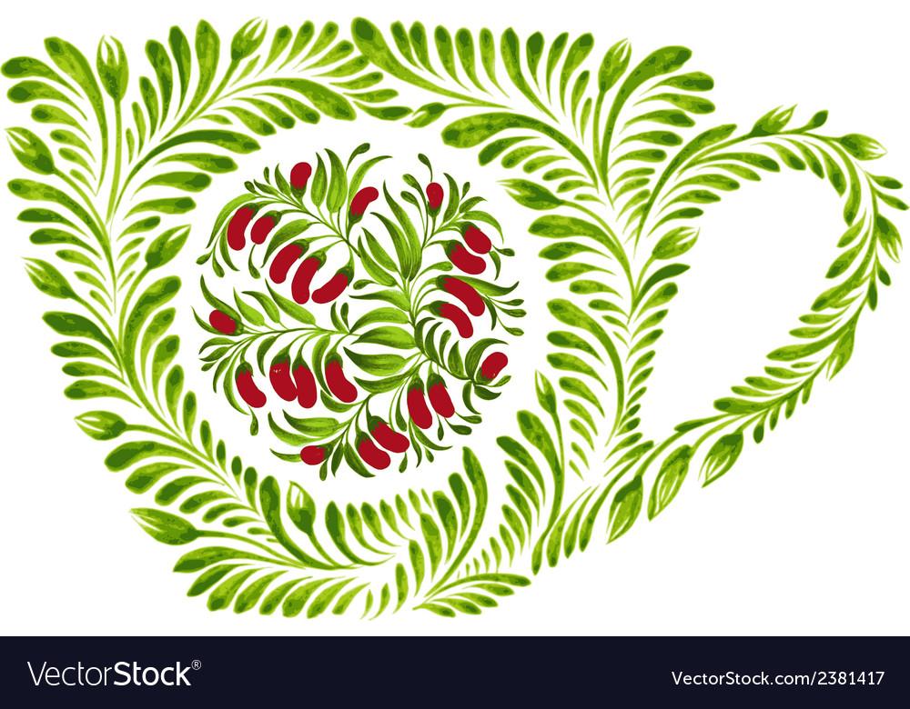 Decorative ornament teacup vector | Price: 1 Credit (USD $1)