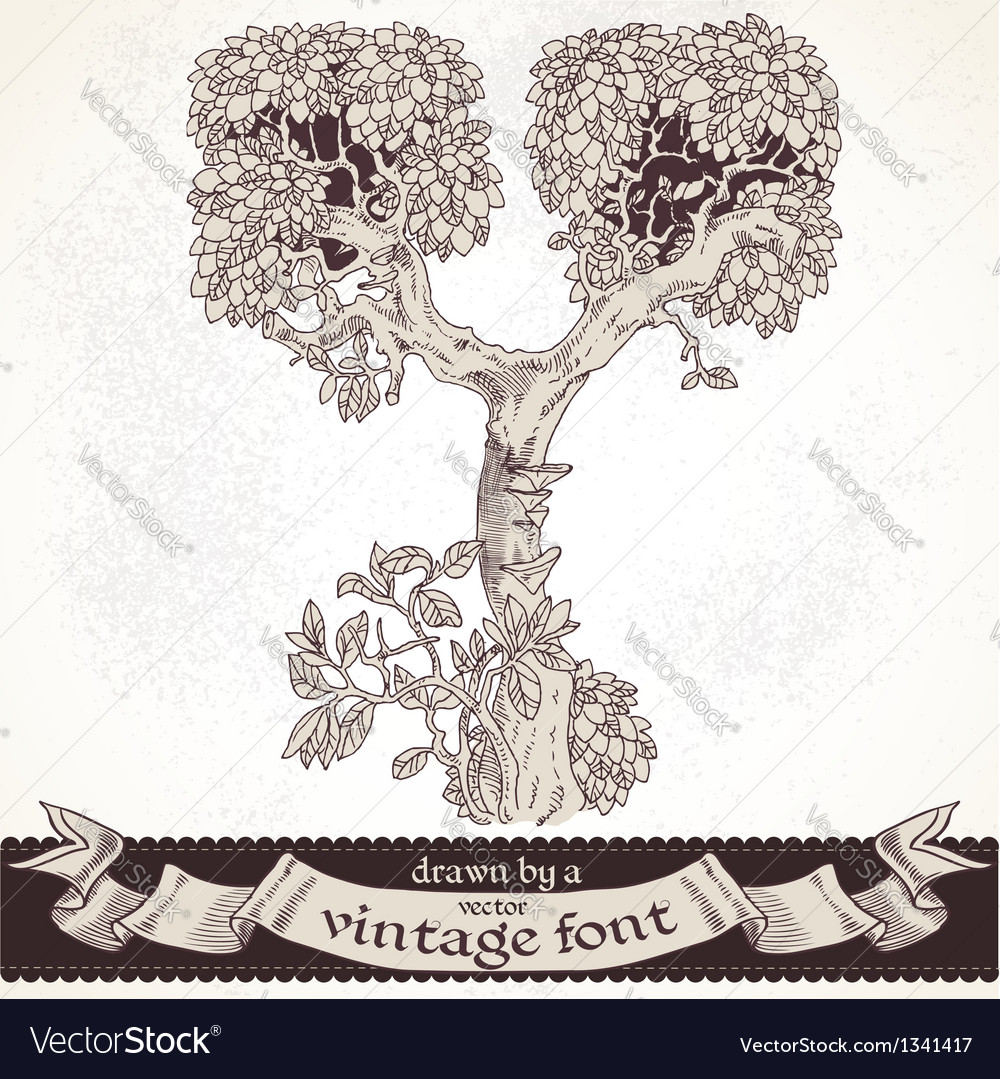 Fable forest hand drawn by a vintage font - y vector | Price: 1 Credit (USD $1)