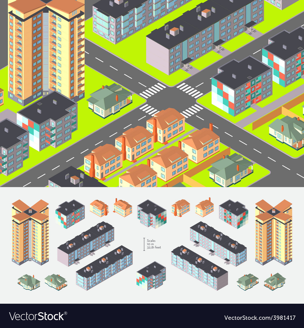 Isometric residential buildings vector | Price: 1 Credit (USD $1)