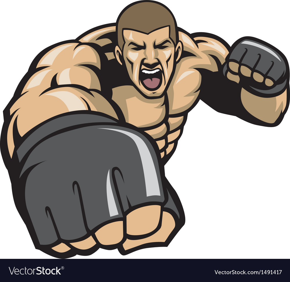 Mma fighter throw a punch vector | Price: 1 Credit (USD $1)