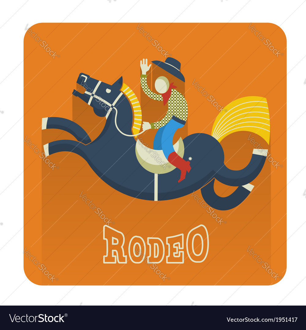 Rodeo iconcowboy on horse vector | Price: 1 Credit (USD $1)