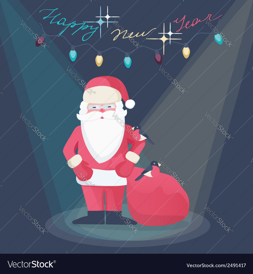 Santa claus on a new year greeting card design vector | Price: 1 Credit (USD $1)
