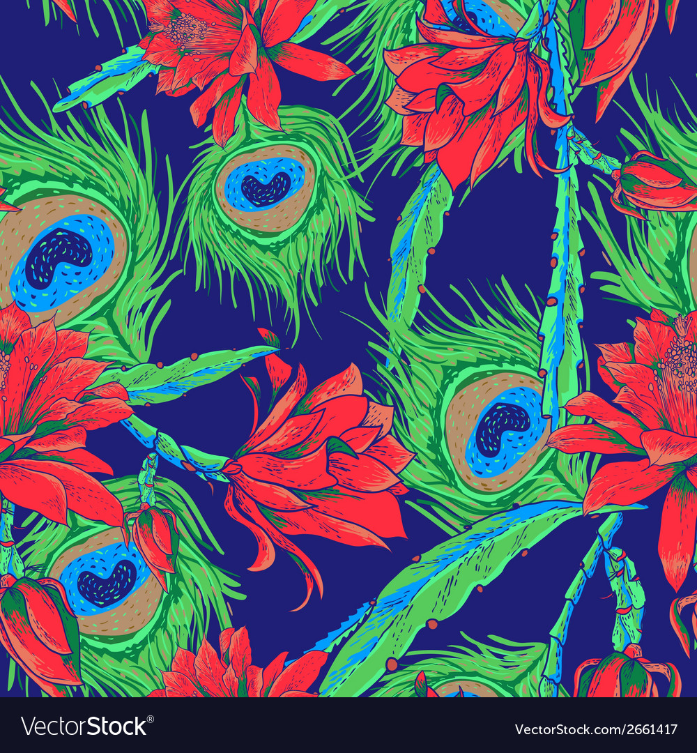 Seamless pattern with flowers and feathers vector | Price: 1 Credit (USD $1)