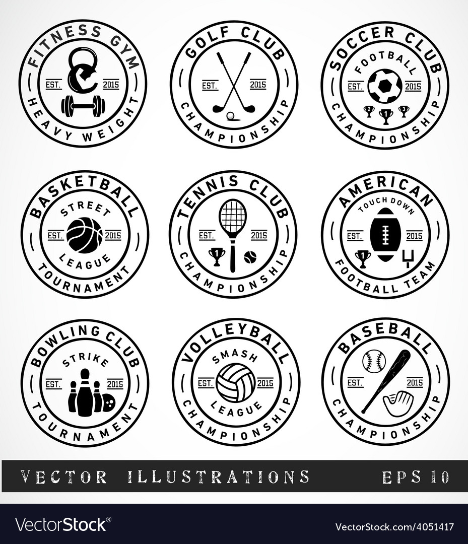 Sport badges and labels in vintage style vector | Price: 1 Credit (USD $1)