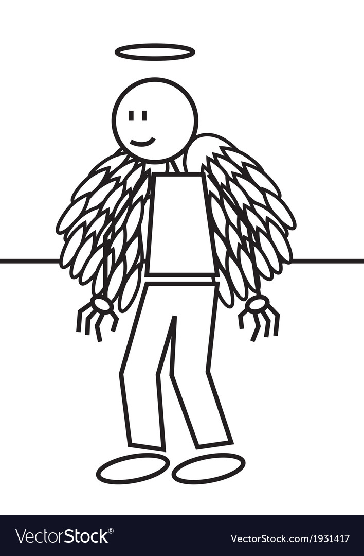 Stick figure angel vector | Price: 1 Credit (USD $1)