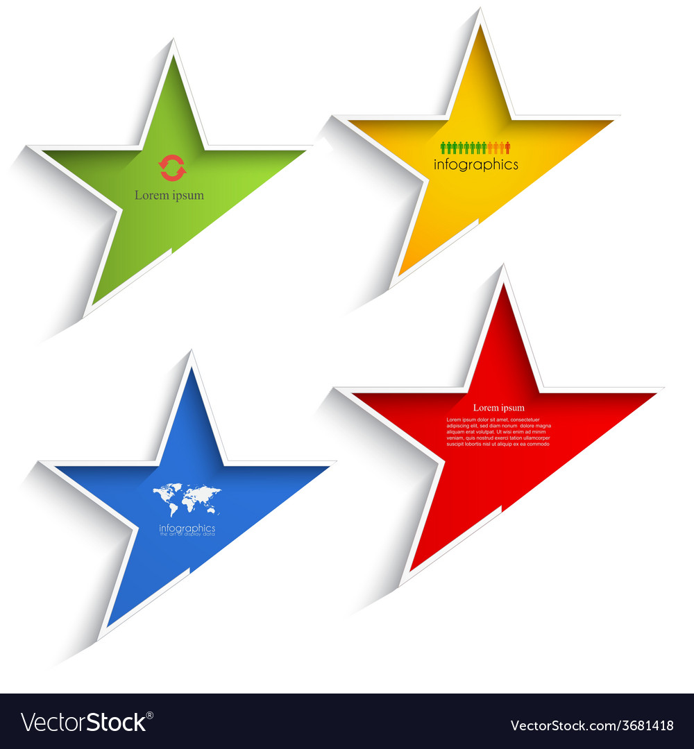 Abstract star shape info graphic elements vector | Price: 1 Credit (USD $1)