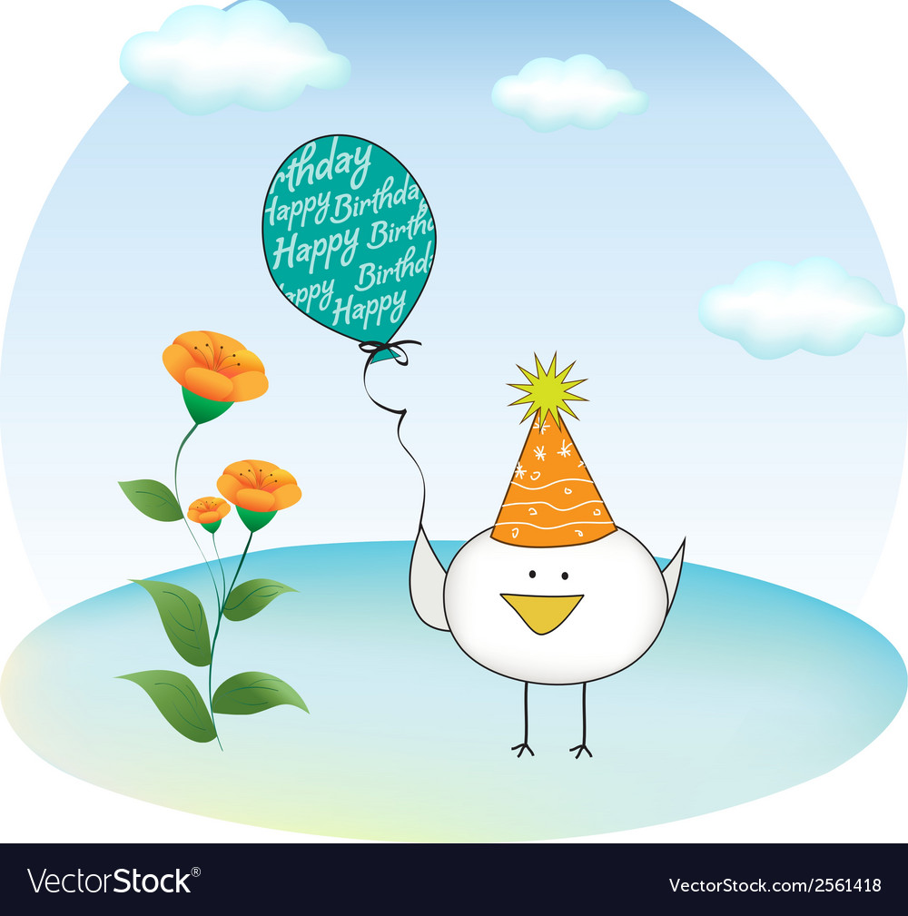 Birthday party greeting card with chicken vector | Price: 1 Credit (USD $1)