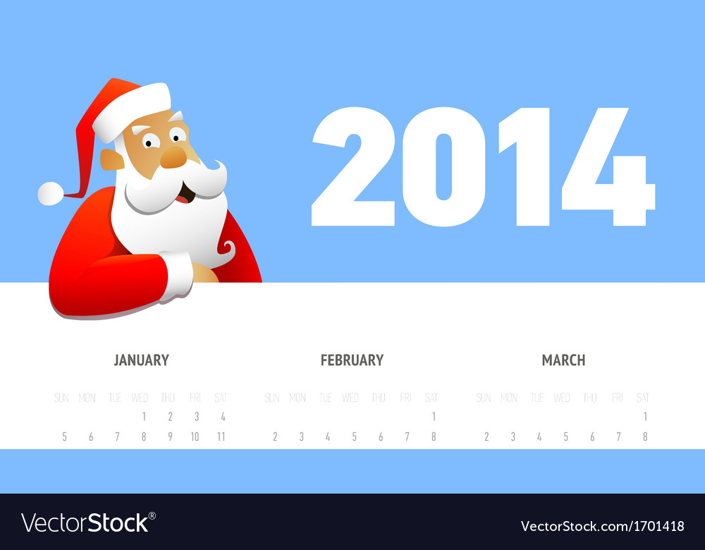 Calendar 2014 with santa vector | Price: 1 Credit (USD $1)
