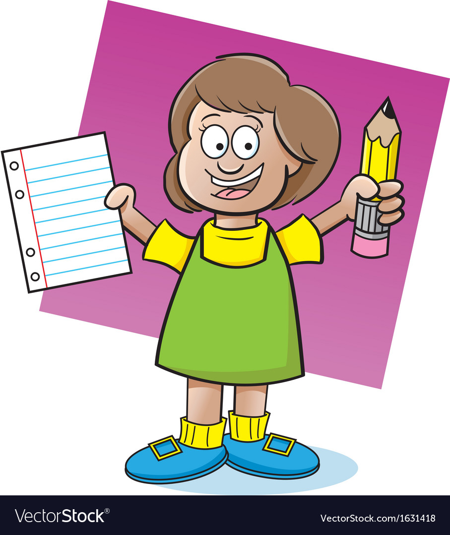 Cartoon girl holding a paper and pencil vector | Price: 3 Credit (USD $3)