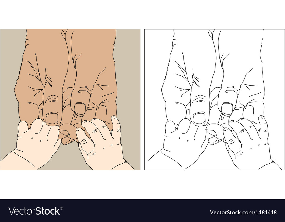 Childrens and adult hands vector | Price: 1 Credit (USD $1)