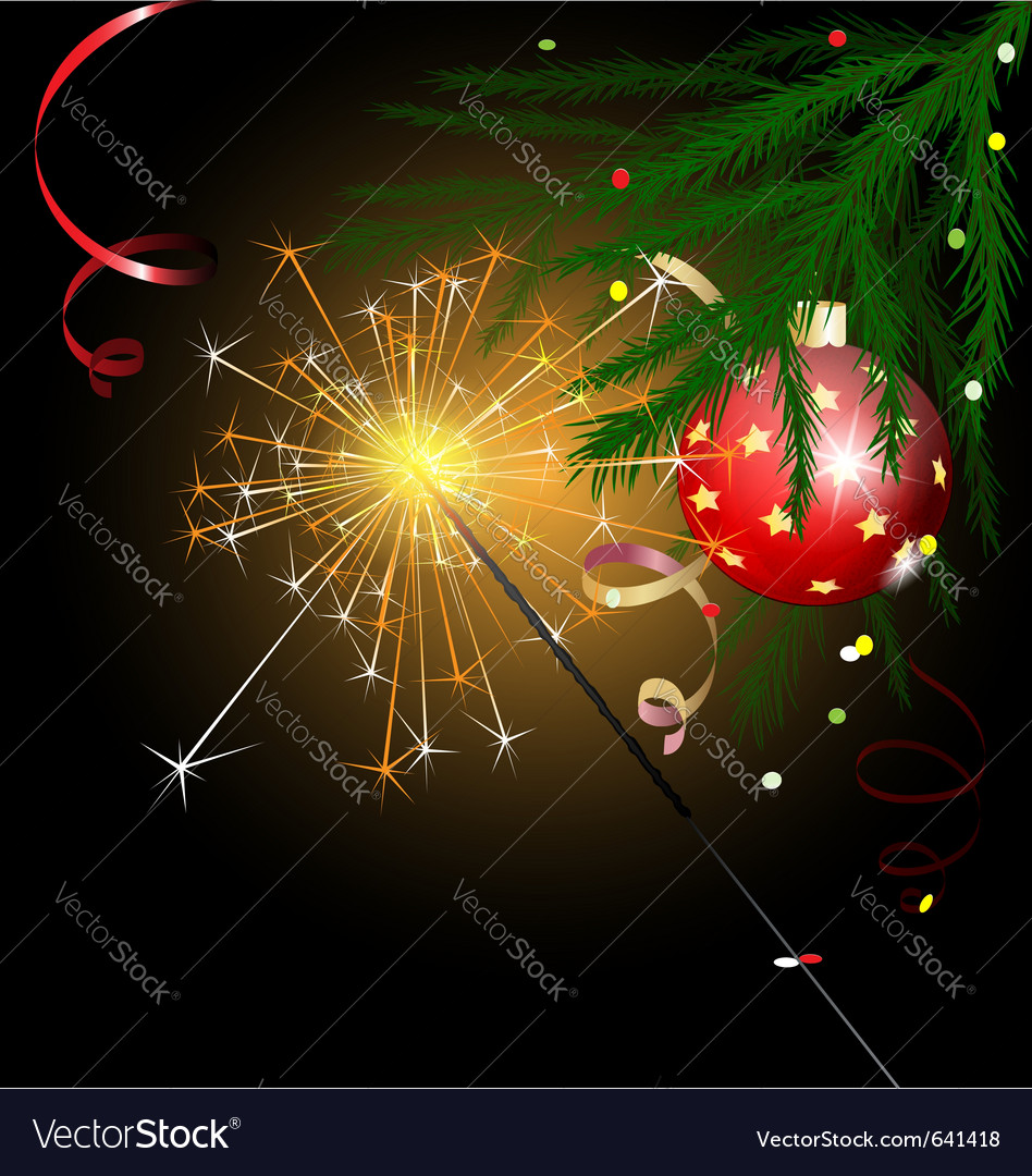 Christmas tree and sparkler vector | Price: 1 Credit (USD $1)