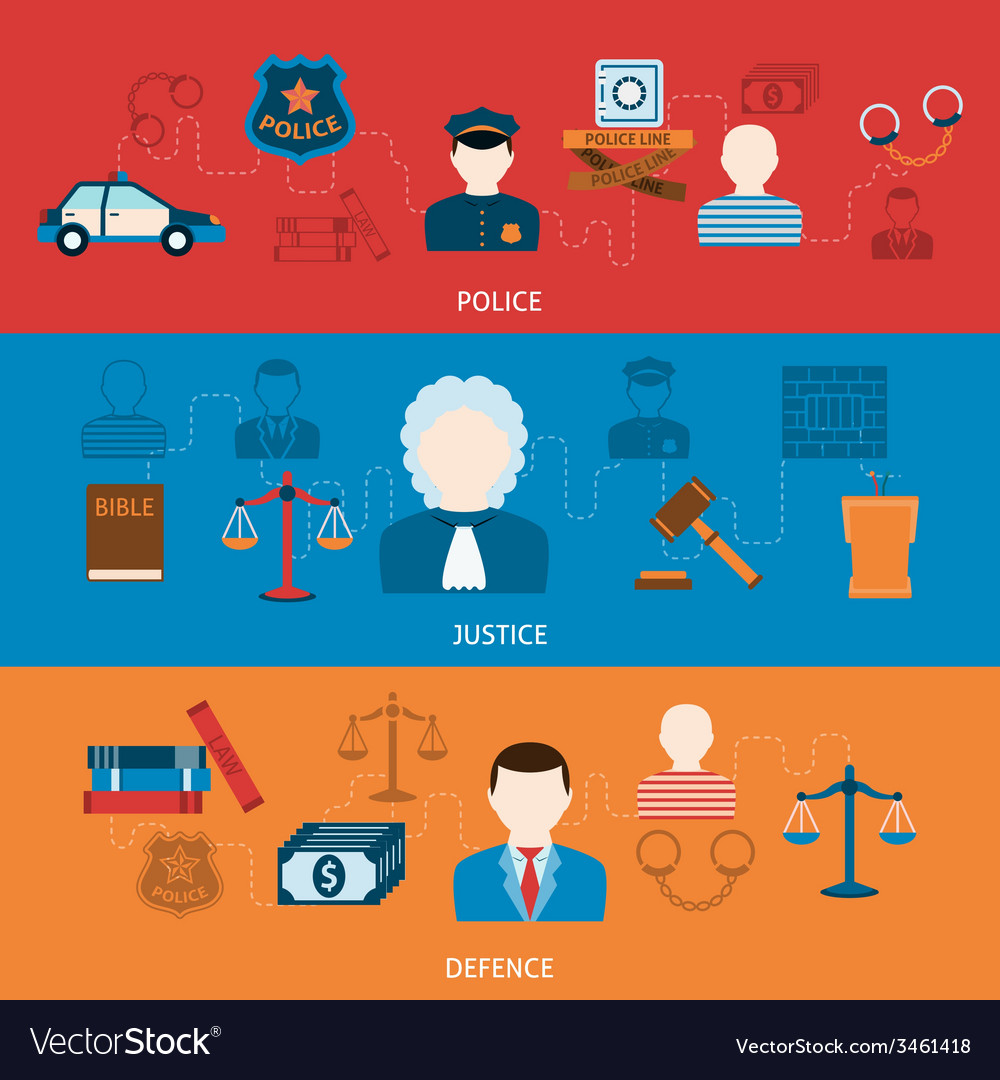 Crime and punishments horizontal flat banners vector | Price: 1 Credit (USD $1)