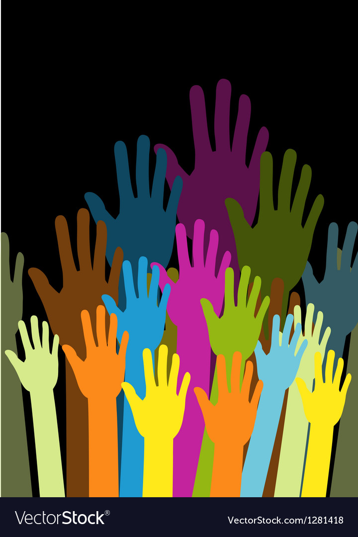 Group of color hands on black background vector | Price: 1 Credit (USD $1)