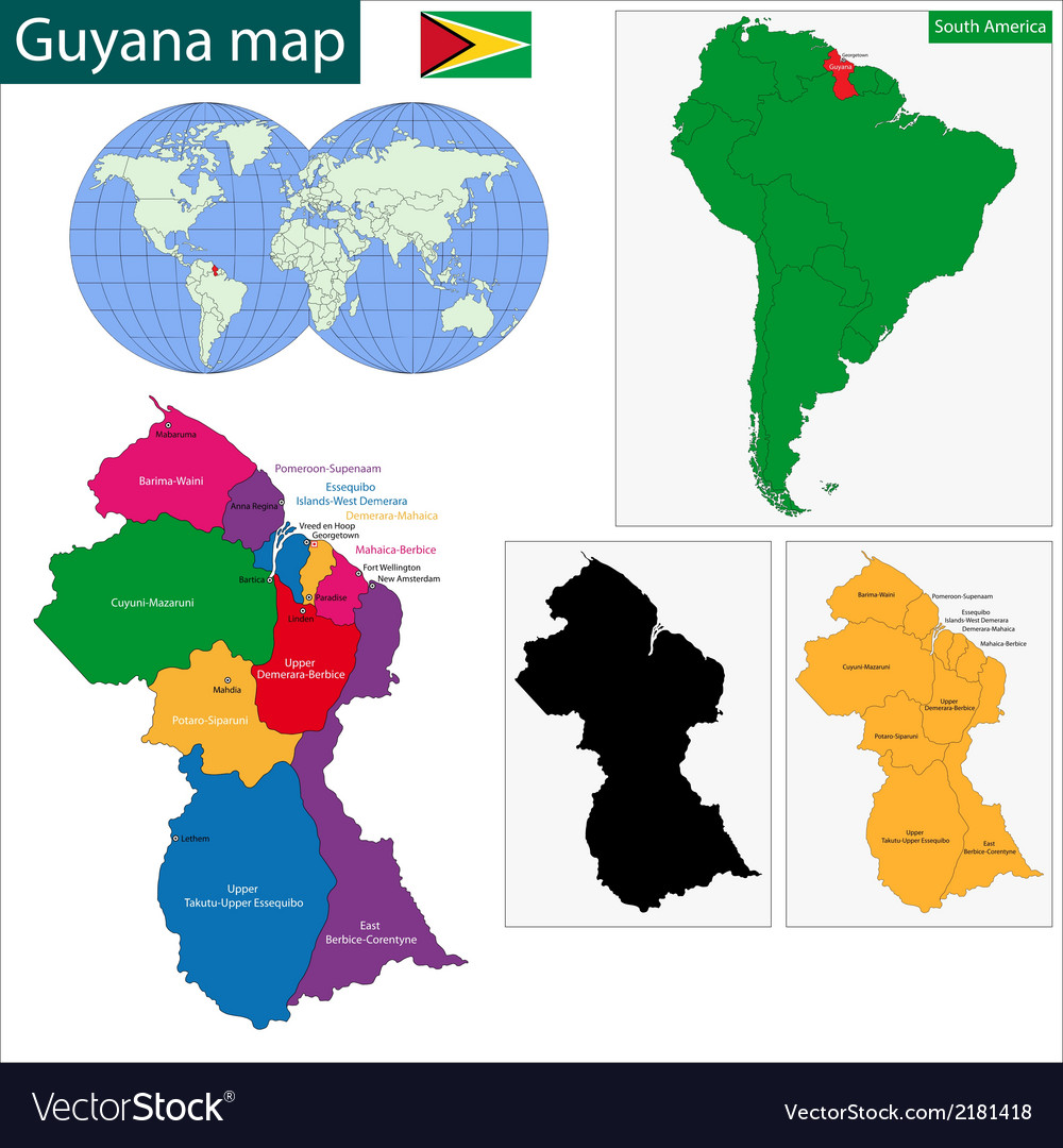 Guyana map vector | Price: 1 Credit (USD $1)