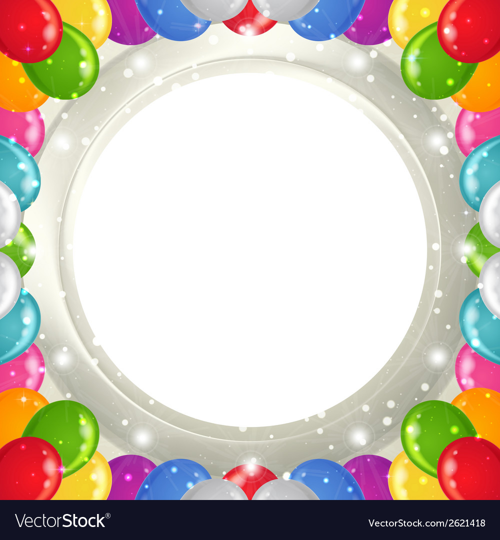 Holiday background with balloons frame vector | Price: 1 Credit (USD $1)