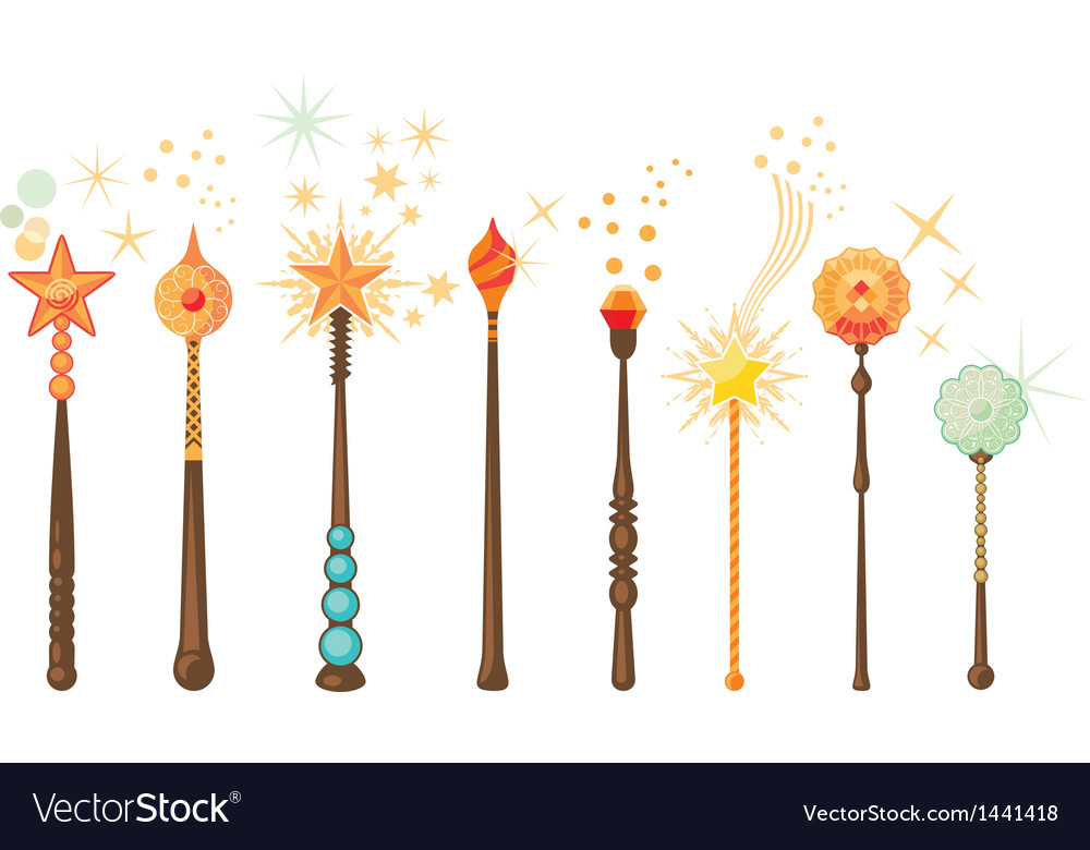 Magic wands set vector | Price: 1 Credit (USD $1)