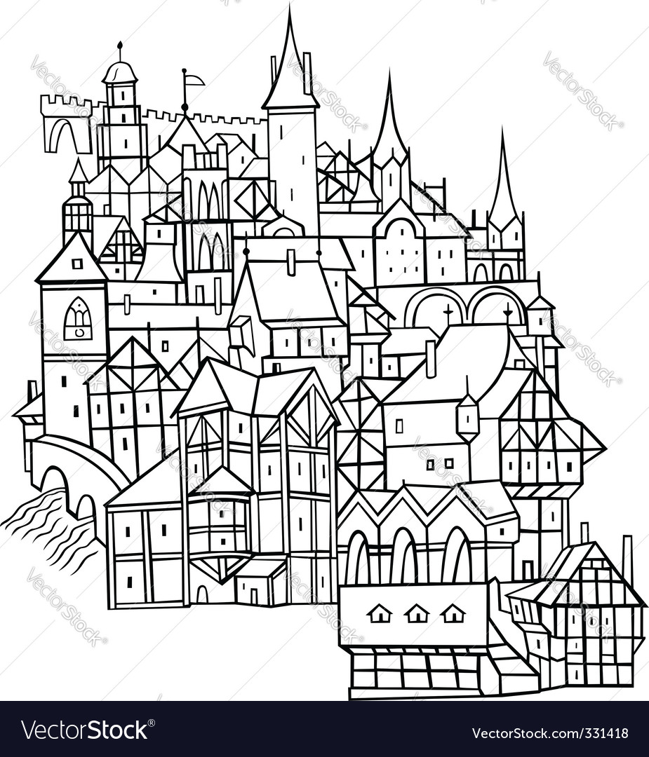 Old town vector | Price: 1 Credit (USD $1)