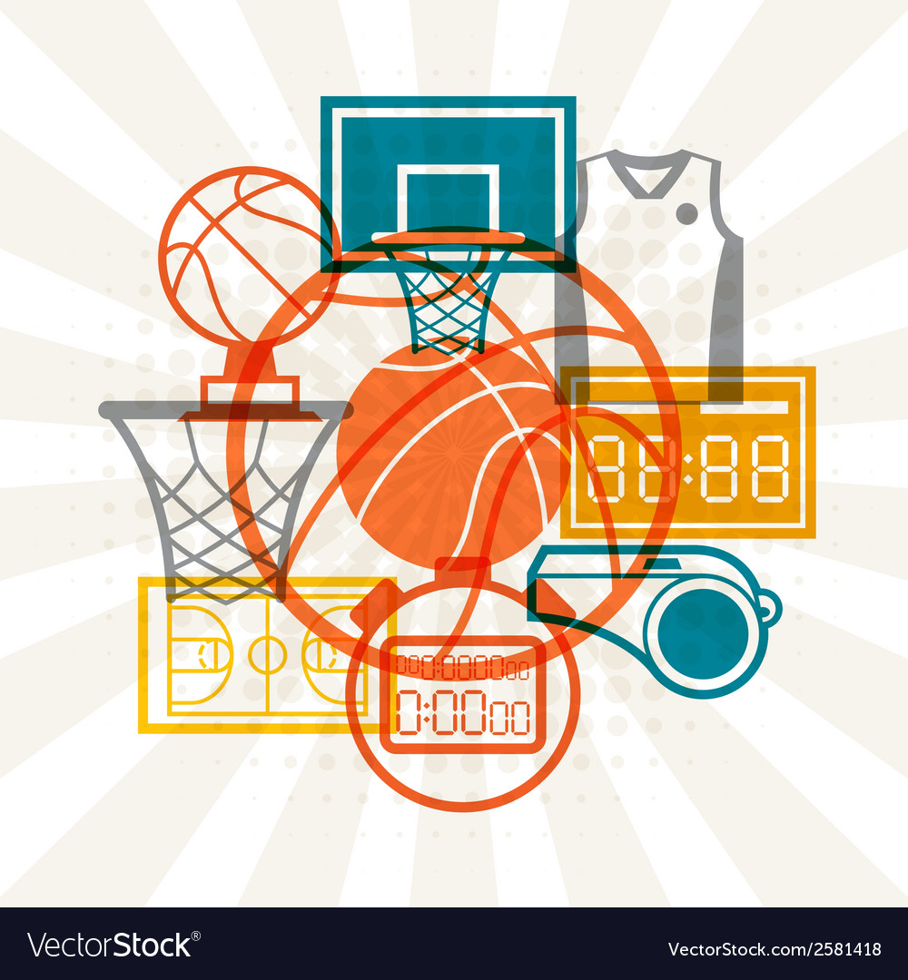 Sports background with basketball icons in flat vector | Price: 1 Credit (USD $1)