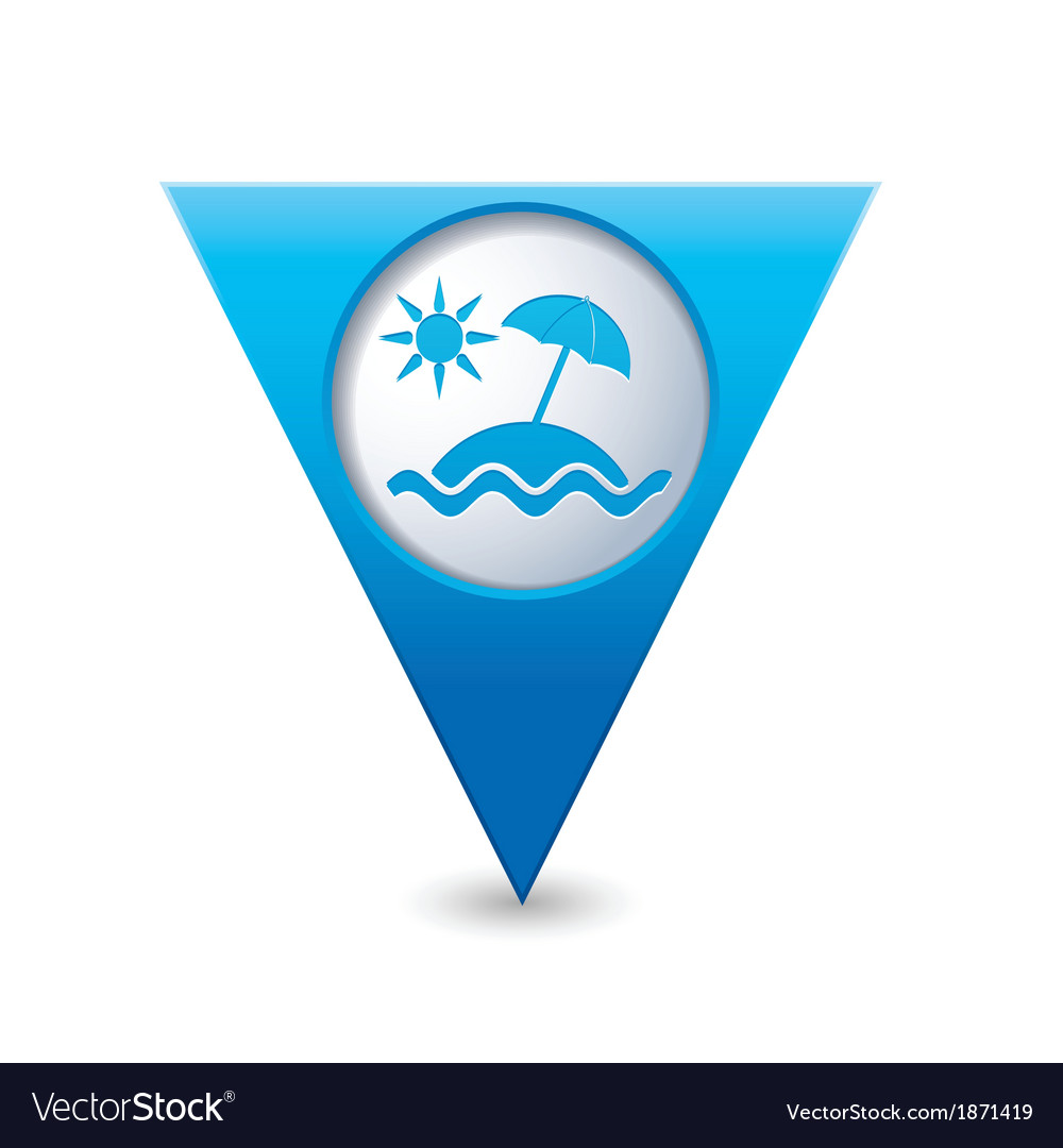 Baech symbol map pointer blue vector | Price: 1 Credit (USD $1)