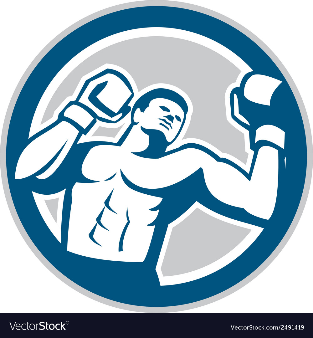 Boxer boxing boxing circle retro vector | Price: 1 Credit (USD $1)