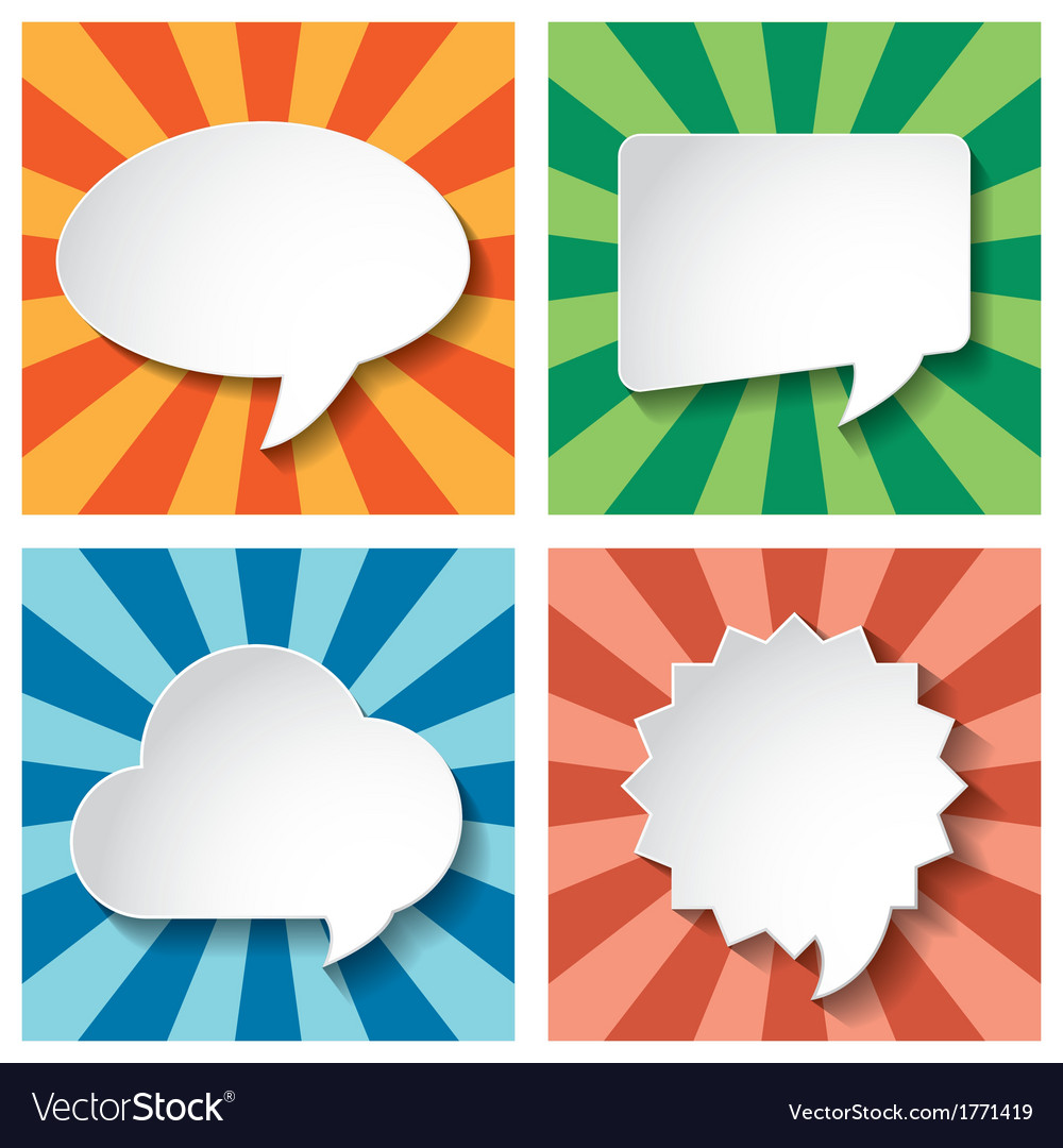 Empty speech bubbles paper on sun burst retro vector | Price: 1 Credit (USD $1)