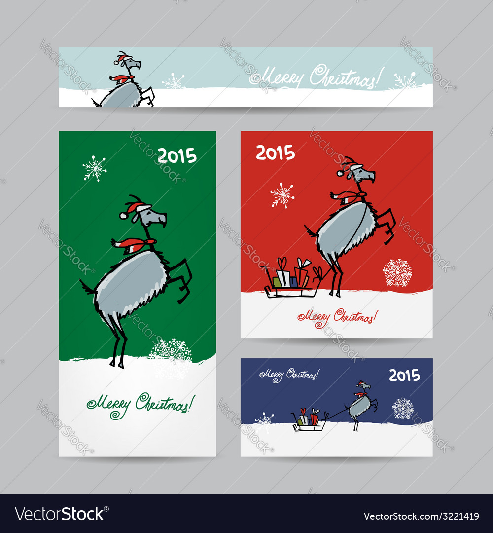 Funny goat santa christmas cards design vector | Price: 1 Credit (USD $1)