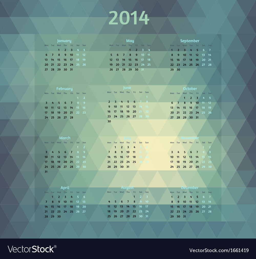 Geometric style 2014 year calendar vector | Price: 1 Credit (USD $1)