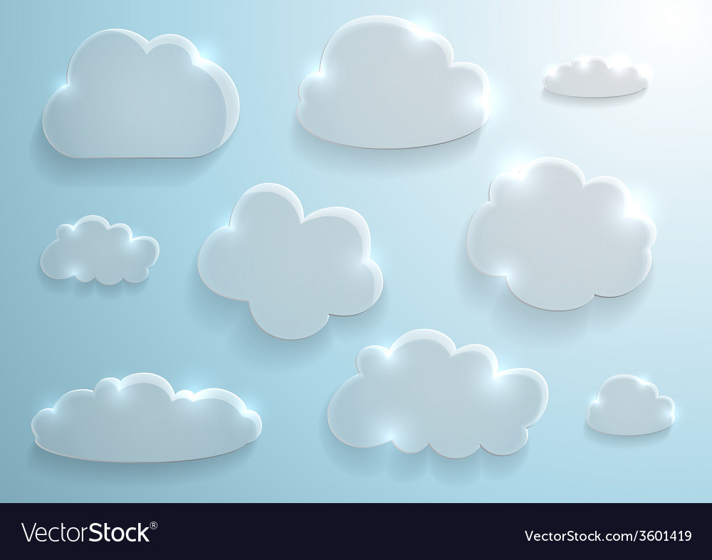 Glass clouds collection vector | Price: 1 Credit (USD $1)