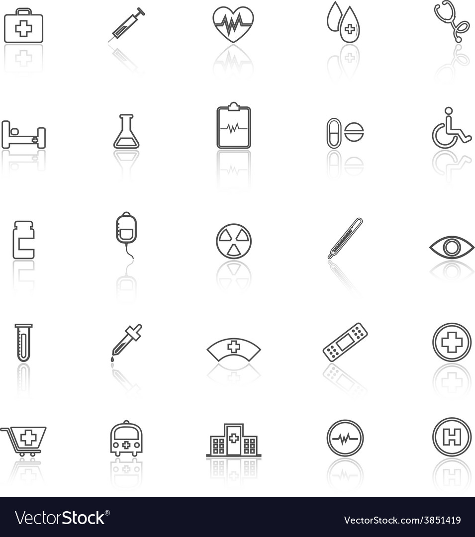 Medical line icons with reflect on white vector | Price: 1 Credit (USD $1)