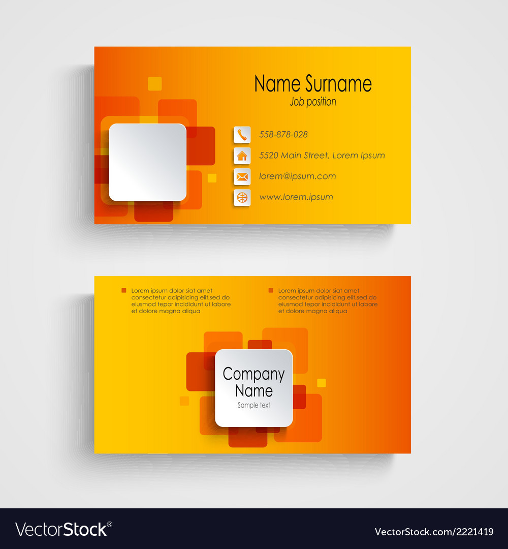 Modern orange square business card template vector | Price: 1 Credit (USD $1)