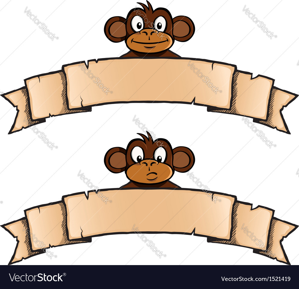 Monkey with ribbon banner vector | Price: 1 Credit (USD $1)