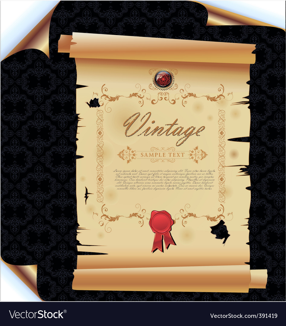 Old paper on damask background vector | Price: 1 Credit (USD $1)
