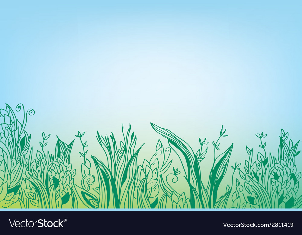 Summer grass border banner - hand drawn vector | Price: 1 Credit (USD $1)