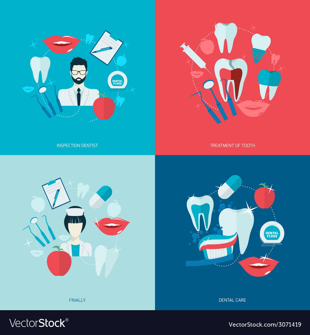 Teeth icons flat vector | Price: 1 Credit (USD $1)