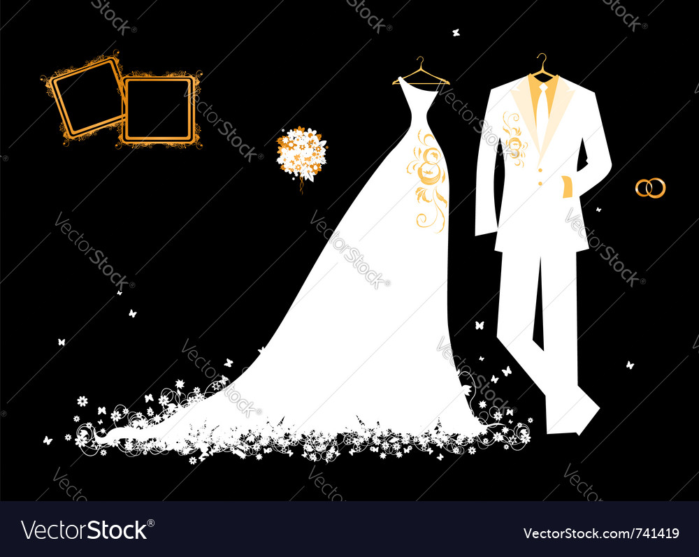 Wedding groom suit and brides dress vector | Price: 1 Credit (USD $1)
