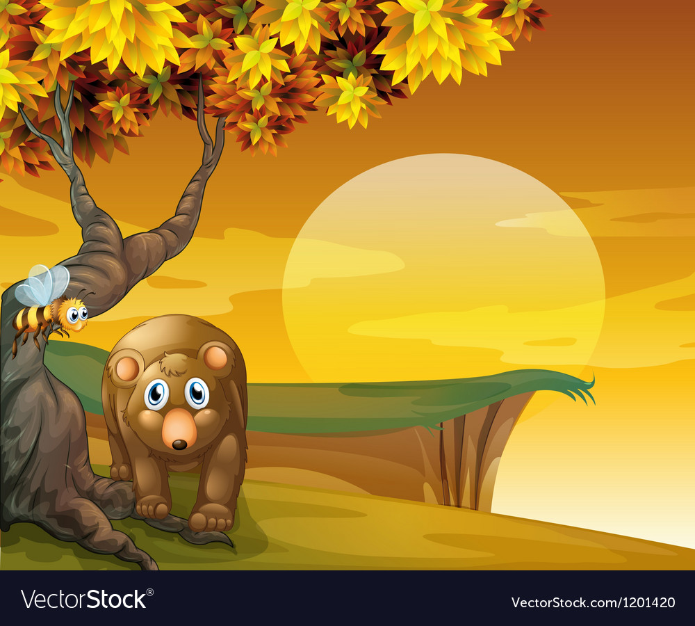 A sad bear and a bee near the cliff vector | Price: 1 Credit (USD $1)