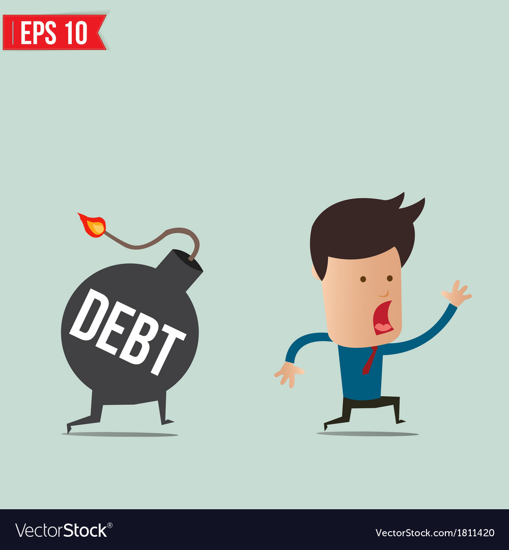 Businessman run away from debt bomb vector | Price: 1 Credit (USD $1)