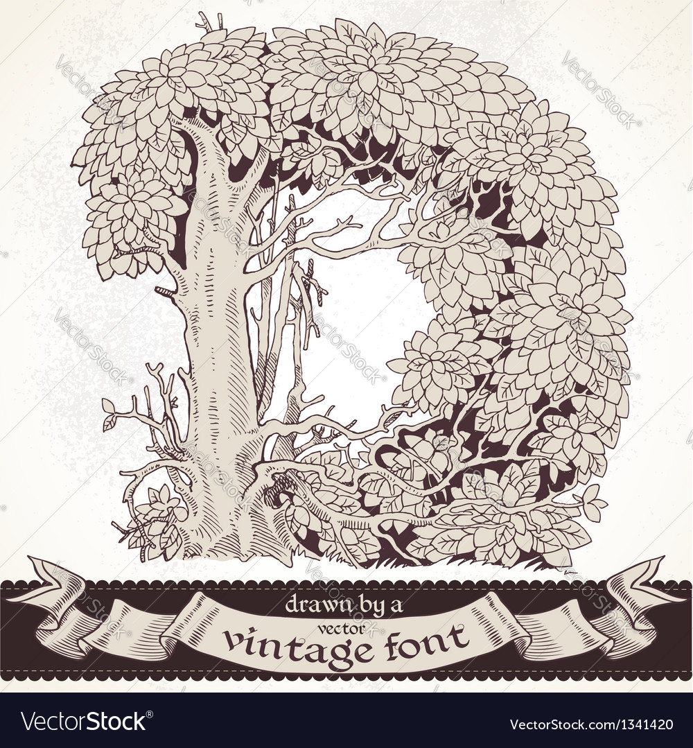 Fable forest hand drawn by a vintage font - d vector | Price: 1 Credit (USD $1)