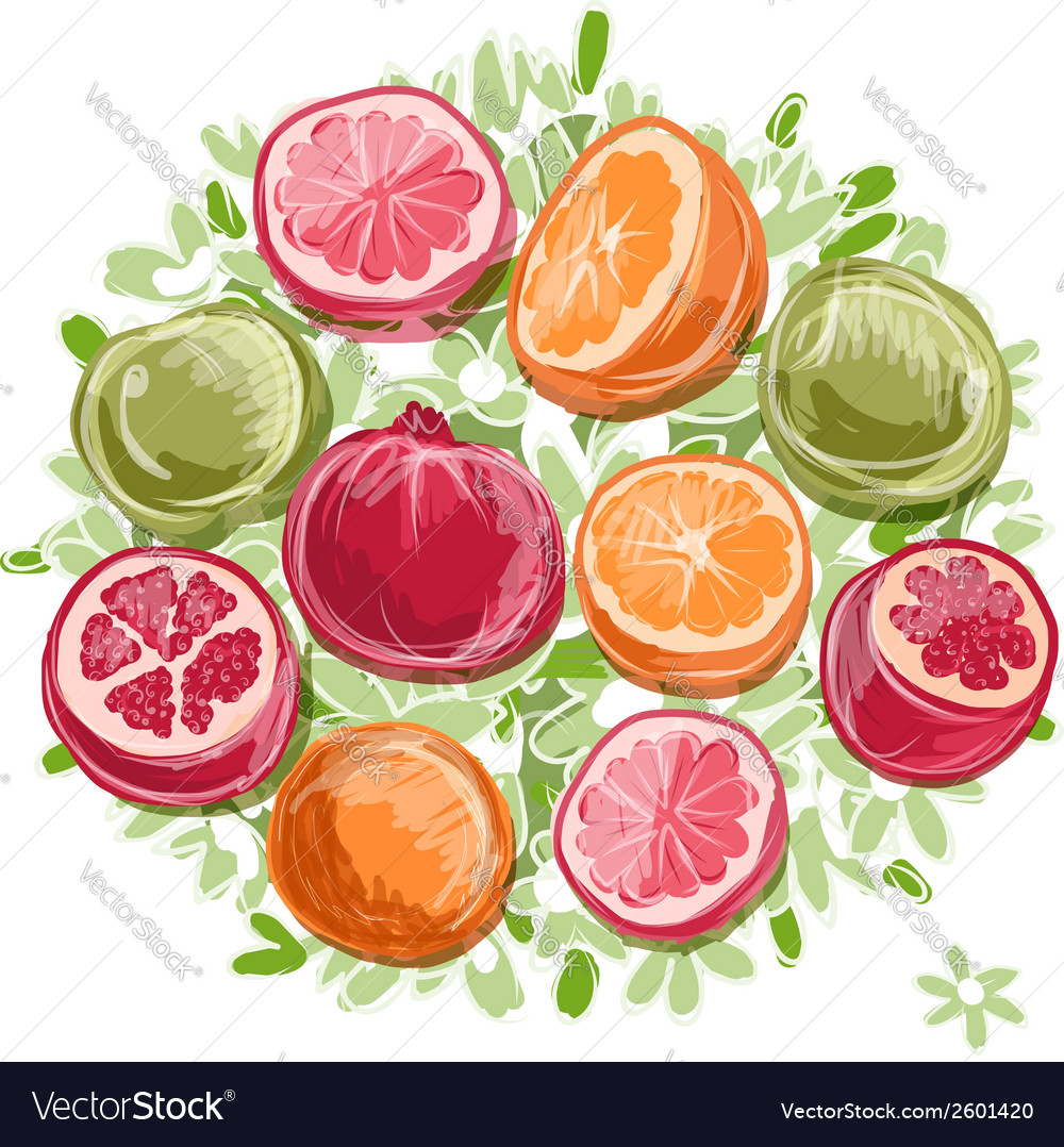 Frame made from fruits sketch for your design vector | Price: 1 Credit (USD $1)